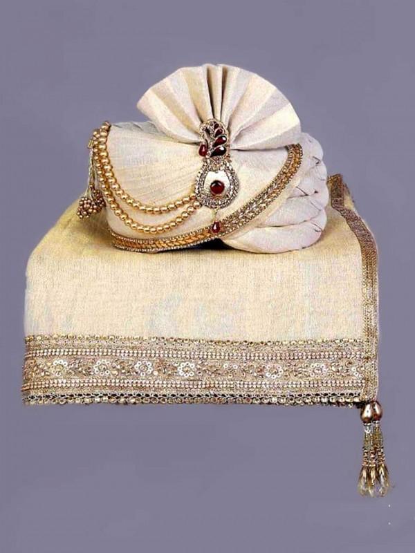 Golden Colour Silk Mens Turban.