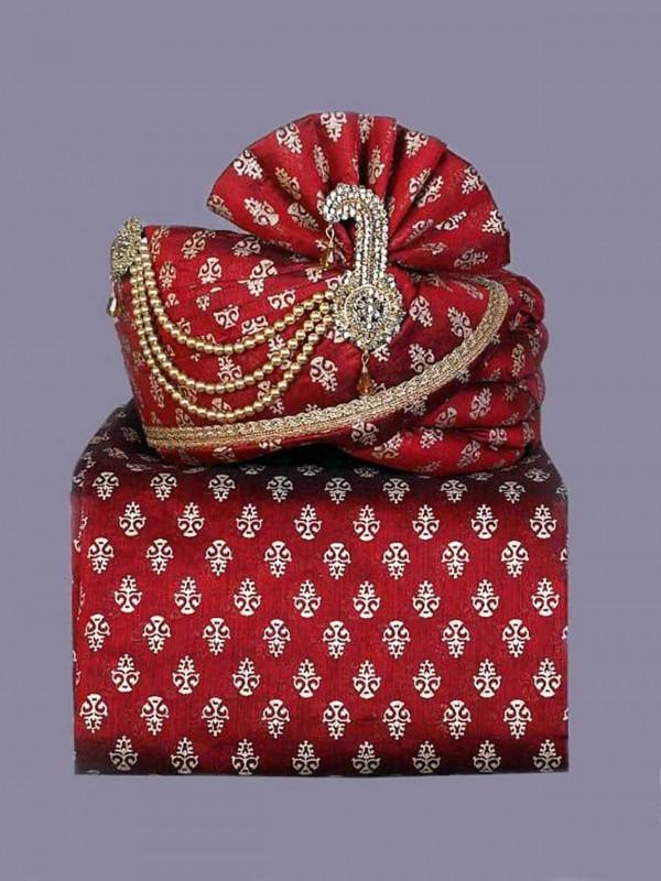 Maroon Colour Indian Wedding Turban Silk Fabric.
