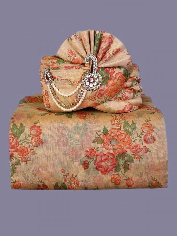 Peach,Golden Colour Silk Fabric Printed Turban.