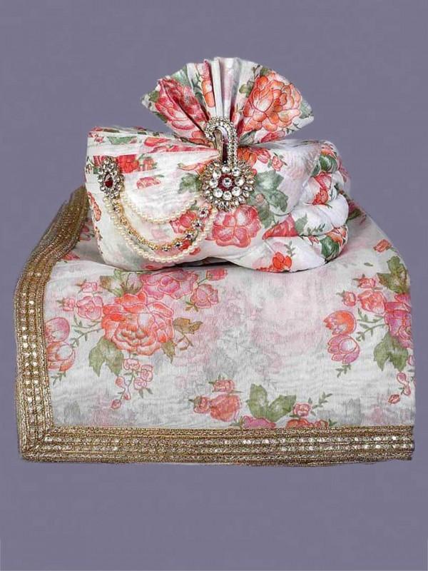 Off White Colour Silk Fabric Wedding Turban.