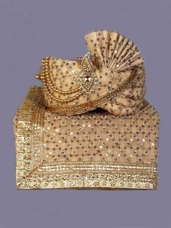 Golden Colour Silk Fabric Wedding Turban.