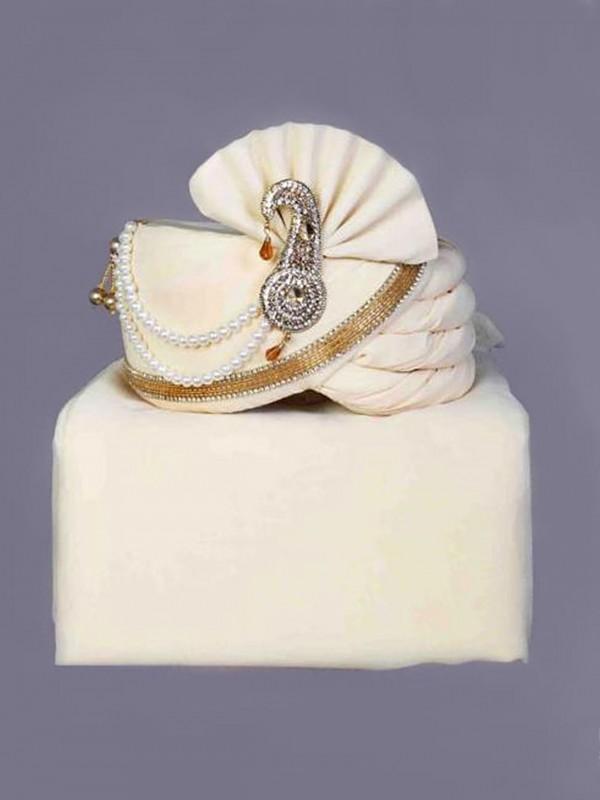 White,Cream Colour Silk Fabric Mens Turban.