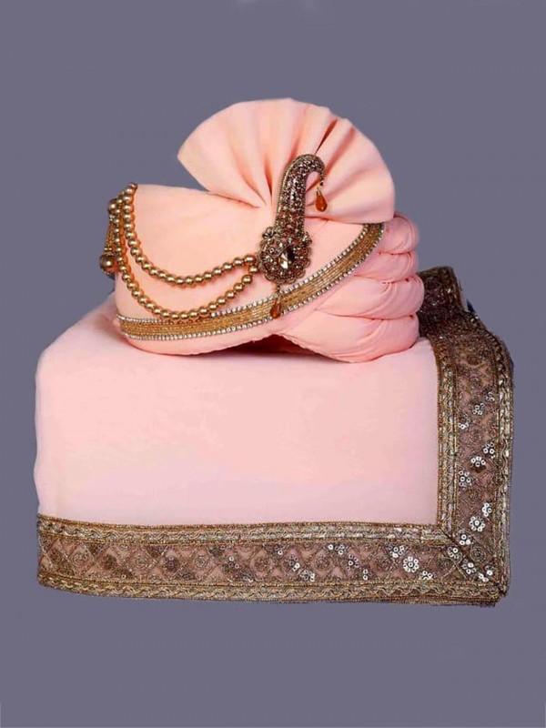 Peach Colour Silk Fabric Mens Wedding Turban.