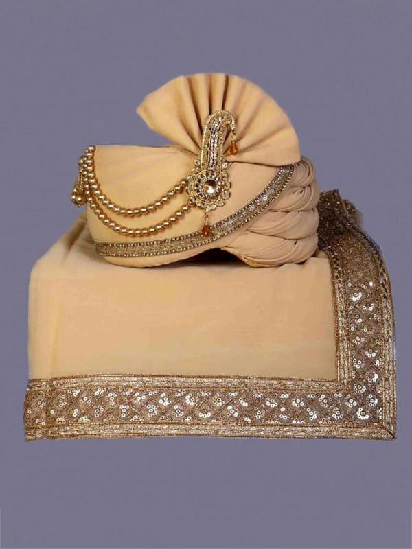Golden Colour Silk Fabric Wedding Safa.