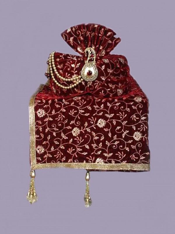 Maroon Colour Velvet Fabric Indian Groom Turban.