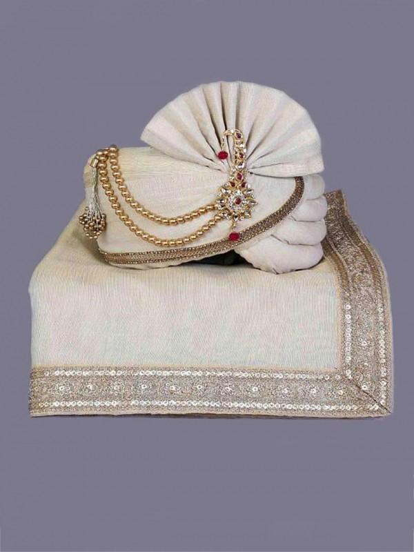 Off White Colour Silk Fabric Mens Turban.