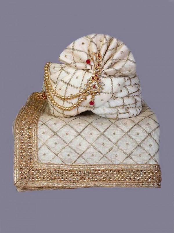 Off White Colour Silk Mens Turban.