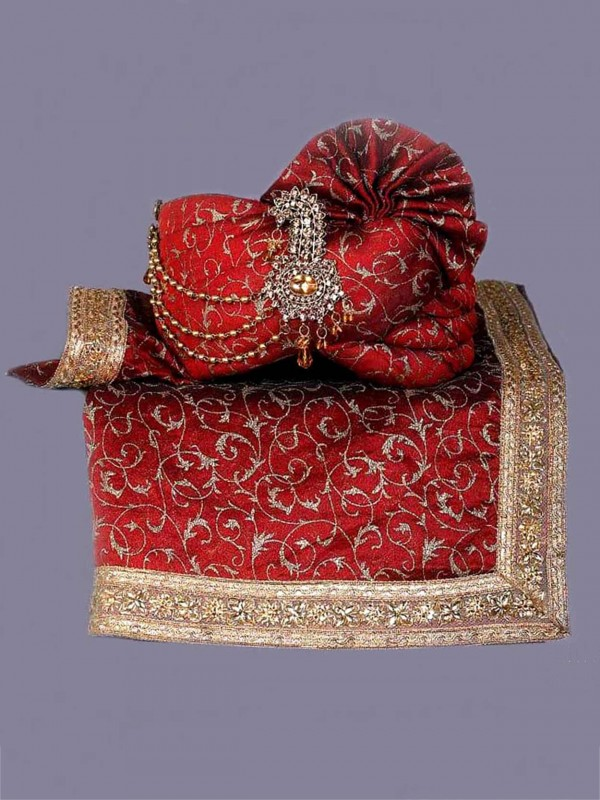 Maroon Colour Silk Fabric Indian Wedding Turban.