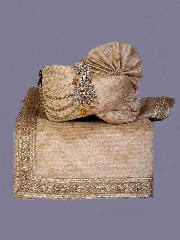 Golden Colour Silk Fabric Groom Wedding Turban.
