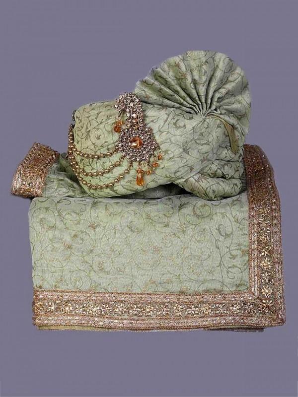 Green Colour Silk Fabric Mens Wedding Turban.