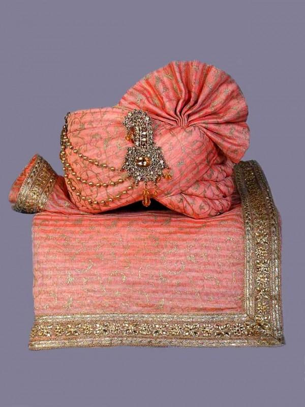 Silk Wedding Turban Pink Colour.