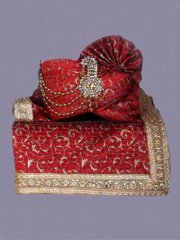 Maroon Colour Silk Fabric Groom Sherwani Turban.
