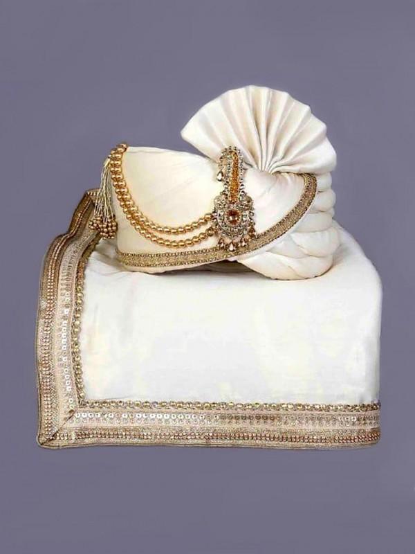 White Colour Silk Fabric Men's Turban.