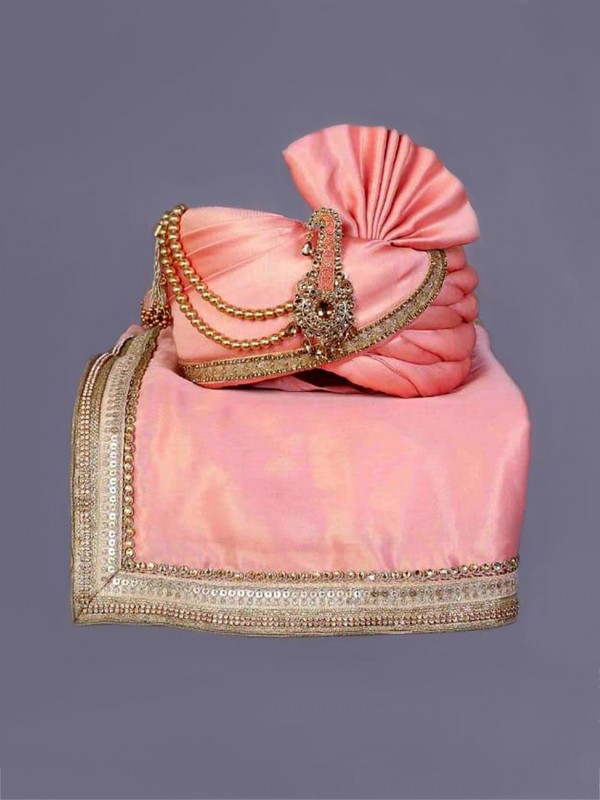 Peach,Pink Colour Silk Mens Turban.
