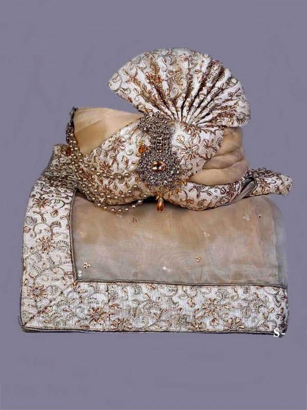 Golden,Cream Colour Silk Fabric Mens Wedding Turban.