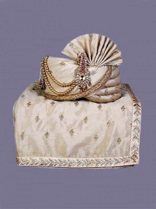 Silver Colour Silk Fabric Mens Turban.