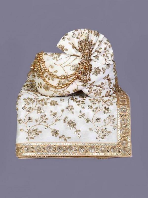 White Colour Silk Fabric Indian Designer Wedding Turban.