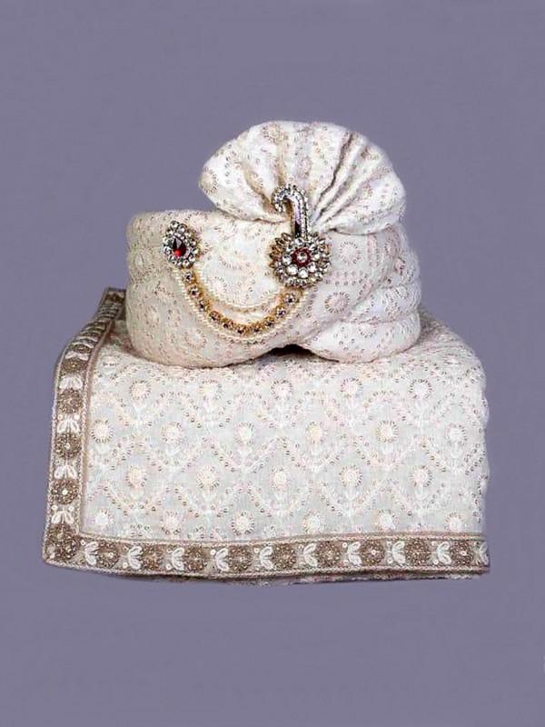 Off White Colour Lucknowi Fabric Wedding Turban.
