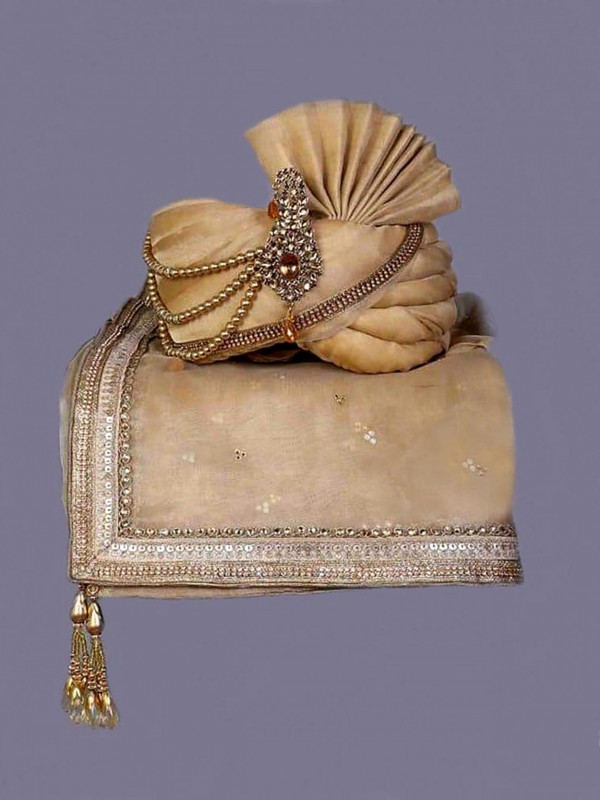 Golden Colour Silk Fabric Groom Sherwani Turban.