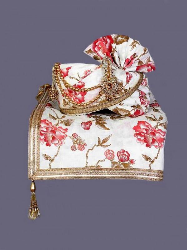 White Colour Silk Wedding Turban.