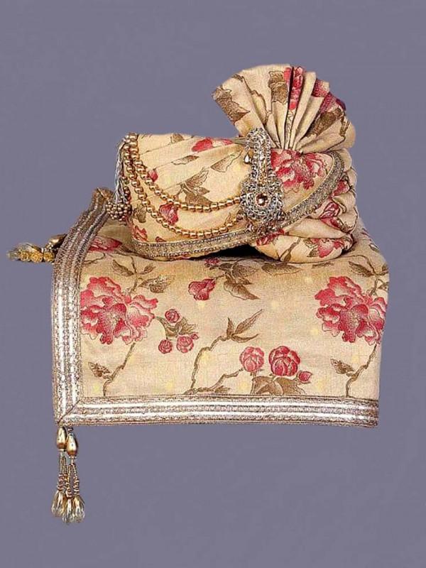 Golden Colour Silk Indian Wedding Turban.