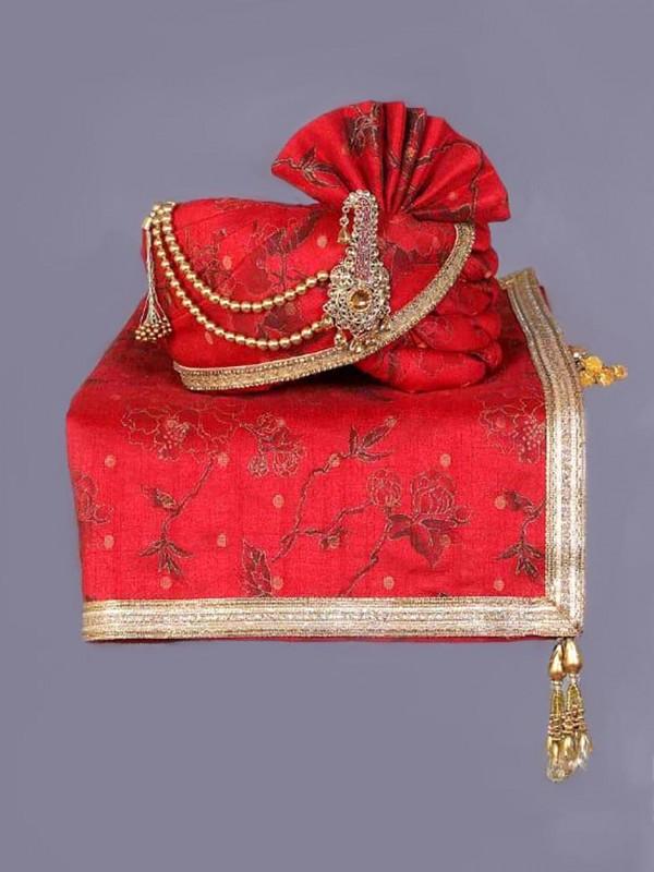 Red Colour Silk Fabric Wedding Turban.