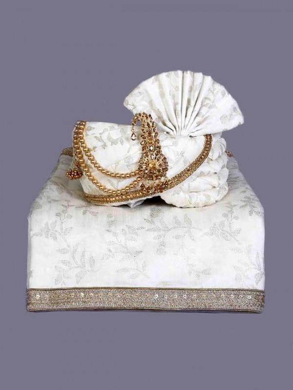 White Colour Silk Fabric Mens Turban.