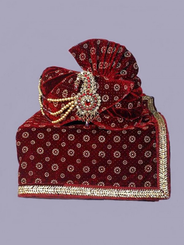 Maroon Colour Velvet Fabric Wedding Turban.