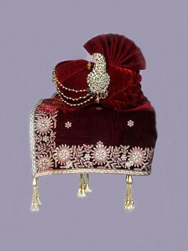 Maroon Colour Velvet Wedding Turban.