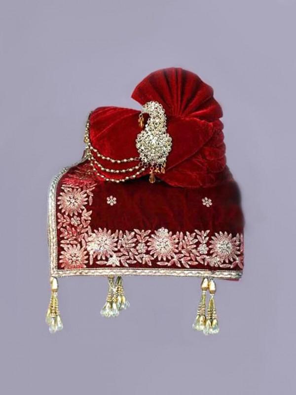 Maroon Colour Velvet Fabric Indian Wedding Turban.