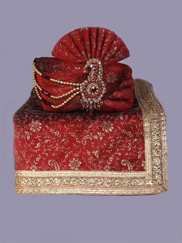 Maroon Colour Silk Wedding Turban.