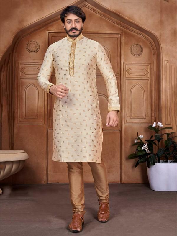 Silver Colour Jacquard,Silk Kurta Pajama.