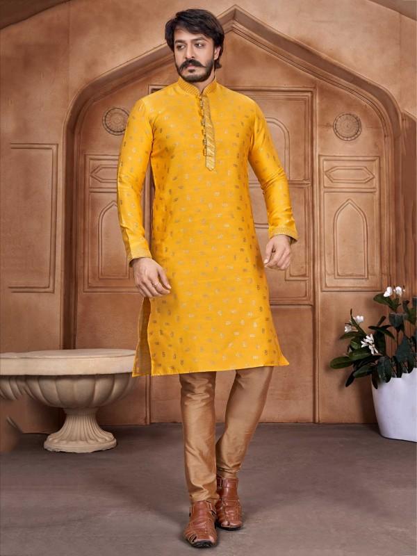 Yellow Colour Jacquard,Silk Fabric Men's Kurta Pajama.