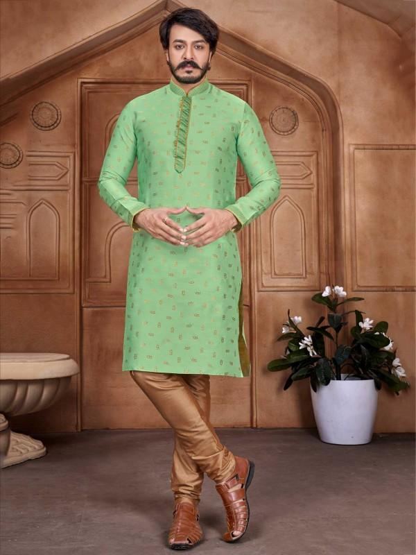 Green Colour Jacquard,Silk Designer Kurta Pajama.