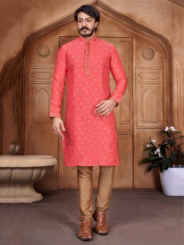 Jacquard,Silk Fabric Rani Pink Colour Designer Kurta Pajama.