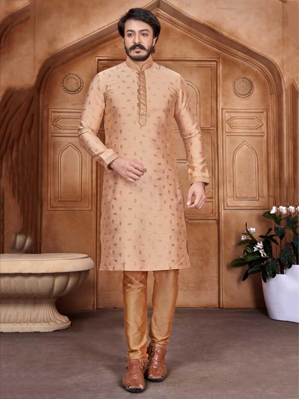 Peach Colour Men's Designer Kurta Pajama Jacquard,Silk Fabric.