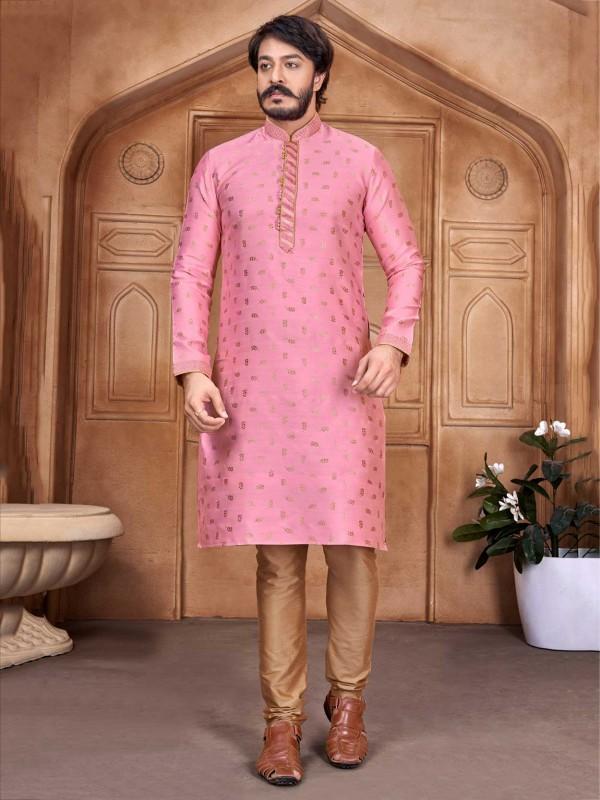 Pink Colour Jacquard Silk Party Wear Kurta Pajama.