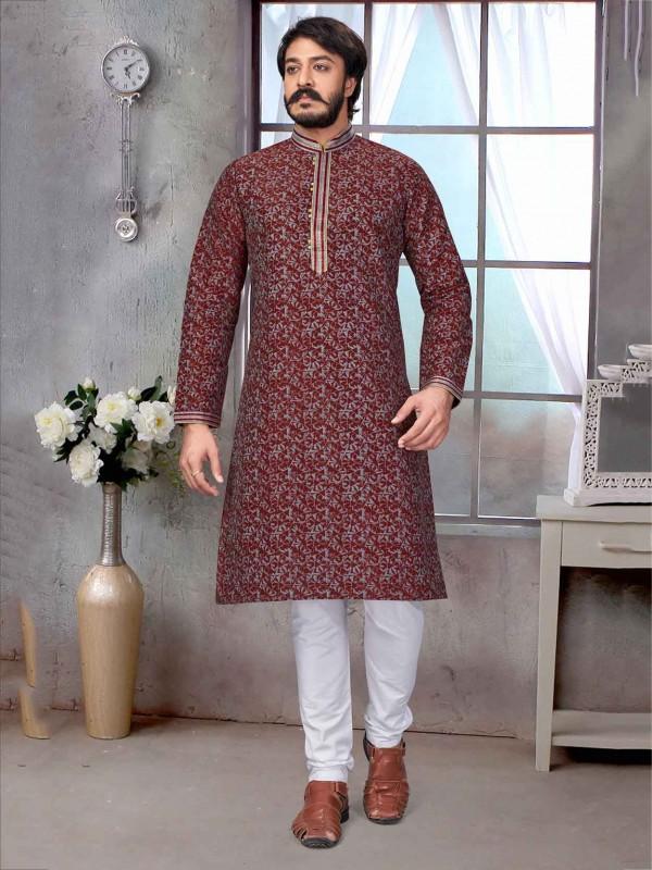 Maroon Colour Jacquard,Silk Fabric Party Wear Kurta Pajama.