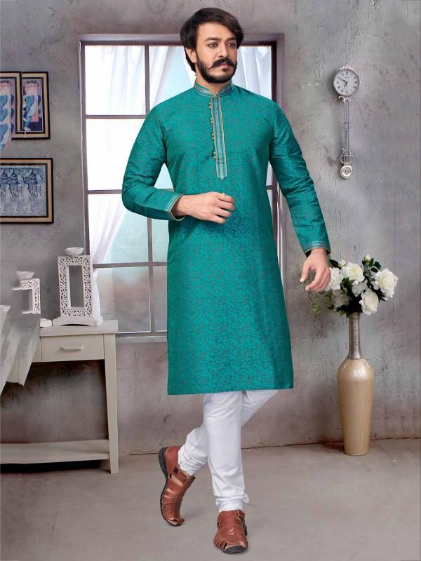 Rama Green Colour Jacquard,Silk Men's Kurta Pajama.