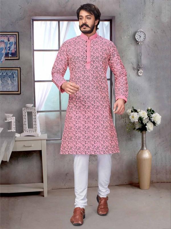 Pink Colour Jacquard,Silk Men's Kurta Pajama.