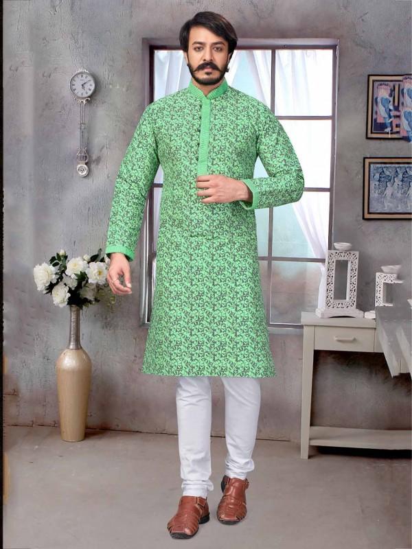 Printed Kurta Pajama Green Colour With Jacquard,Silk Fabric.