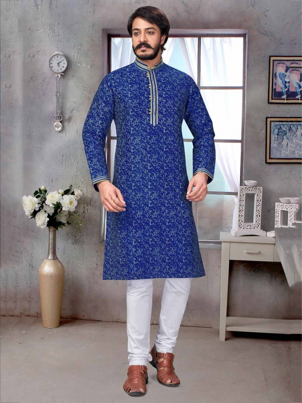Royal Blue Colour Jacquard,Silk Fabric Printed Kurta Pajama.
