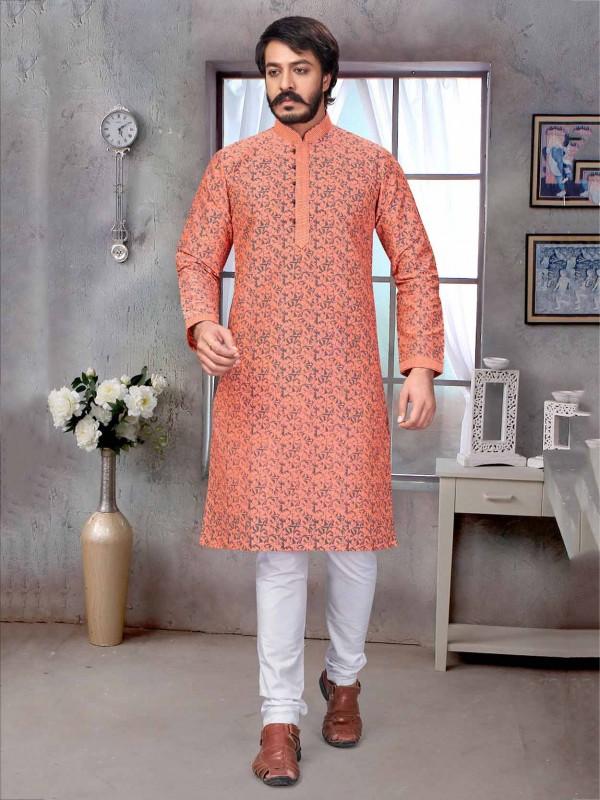 Peach Colour Jacquard,Silk Fabric Readymade Kurta Pajama.
