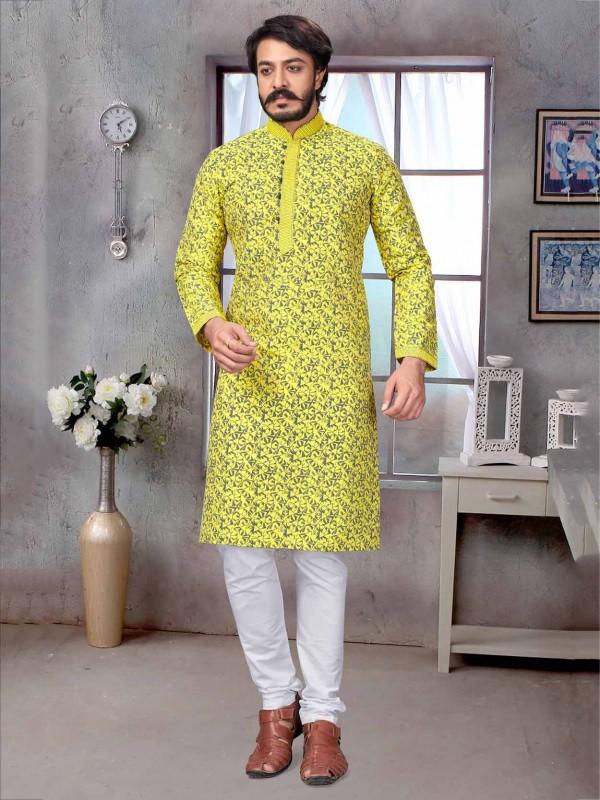 Jacquard,Silk Fabric Men's Kurta Pajama Yellow Colour.