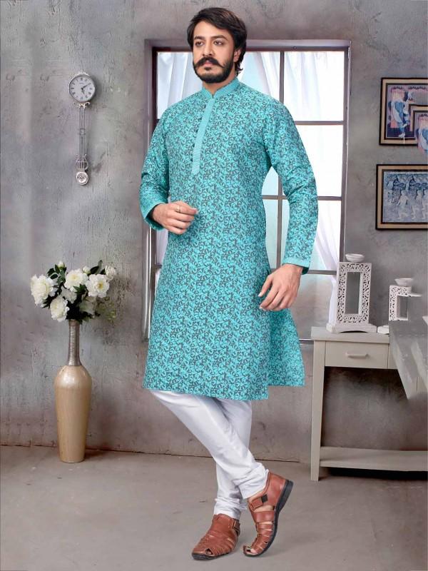 Turquoise Colour Jacquard,Silk Men's Kurta Pajama.
