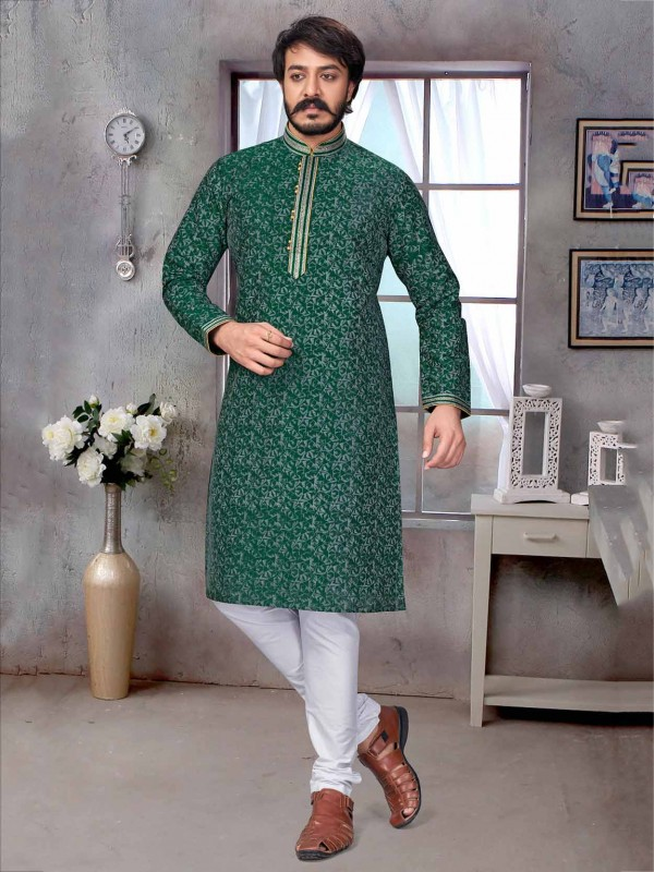 Green Colour Jacquard,Silk Fabric Men's Kurta Pajama.