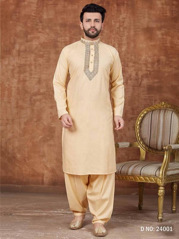 Light Yellow Colour Cotton Fabric Pathani Kurta Pajama.