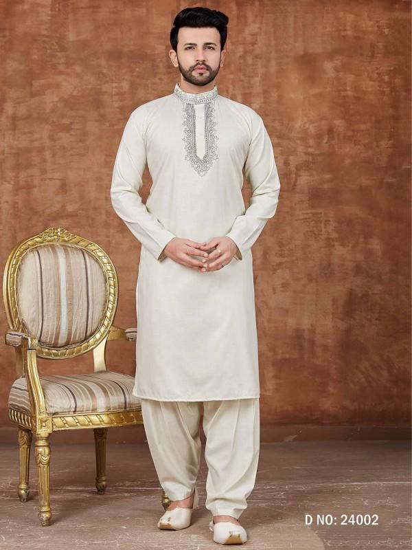 Off White Colour Cotton Pathani Kurta Pajama.
