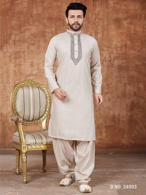 Men's Kurta Pajama Cotton Fabric Off White Colour.