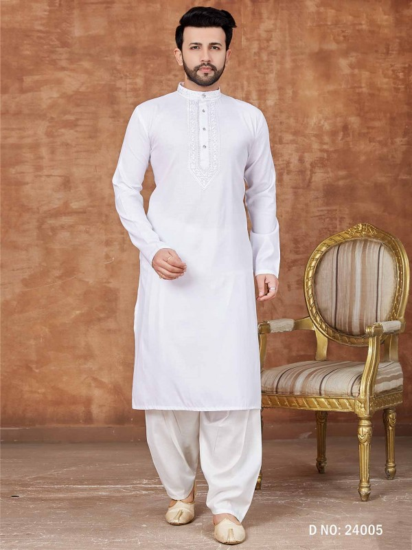 White Colour Cotton Kurta Pajama.